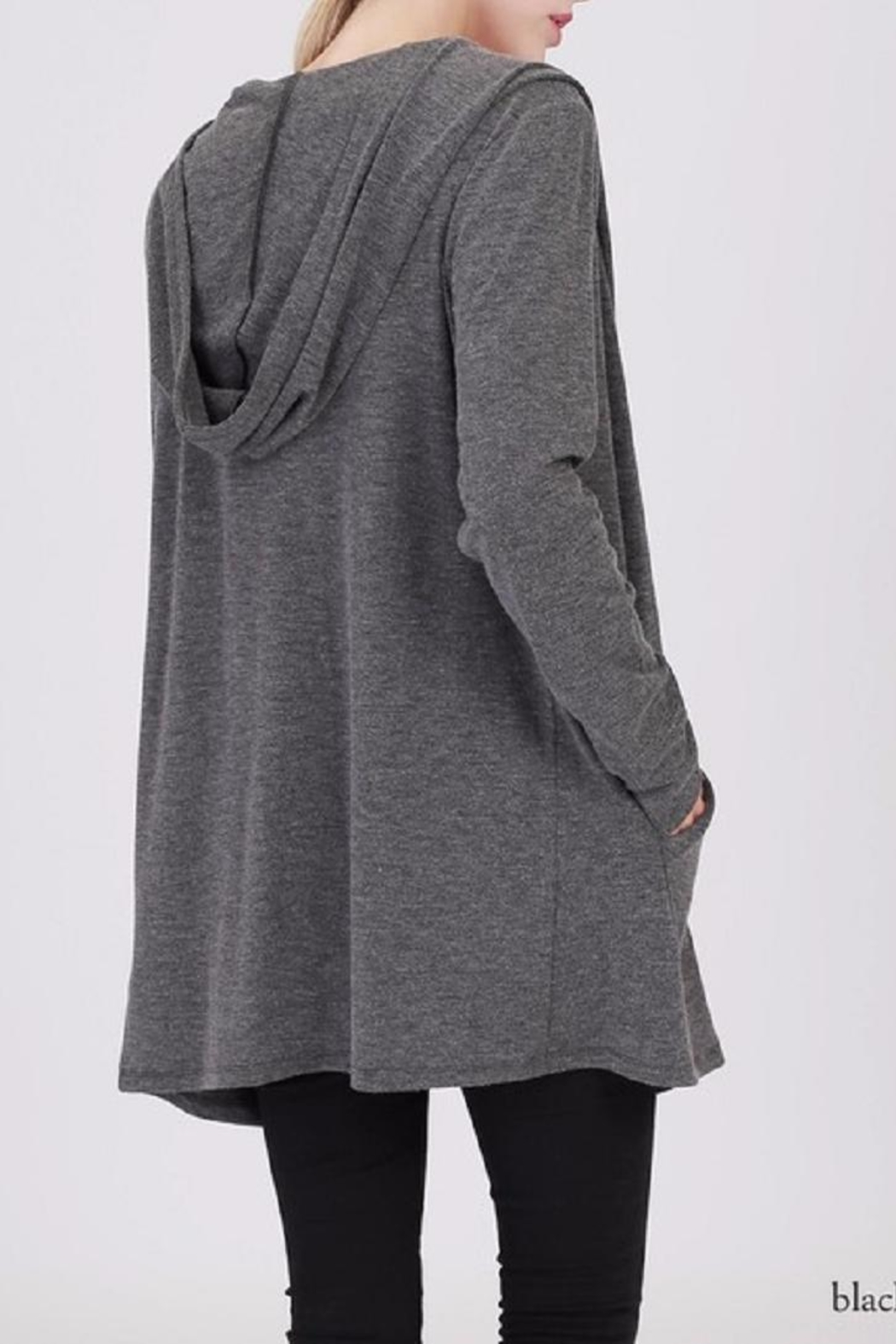 Double Zero Hooded Open Cardigan - Front Full Image