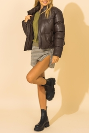 Double Zero Leather Puffer Jacket - Front full body