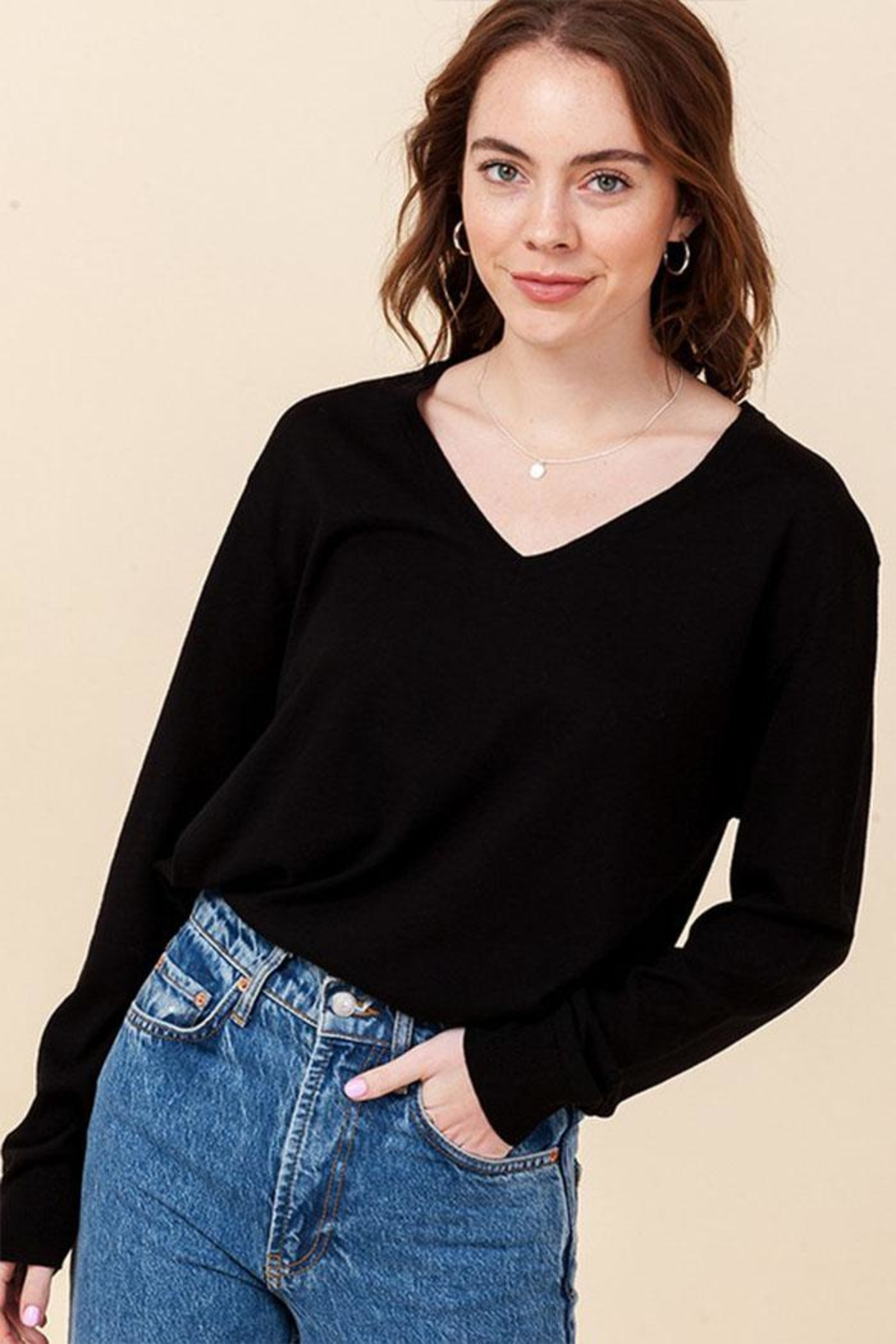 Double Zero Lightweight V-Neck Sweater - Front Cropped Image