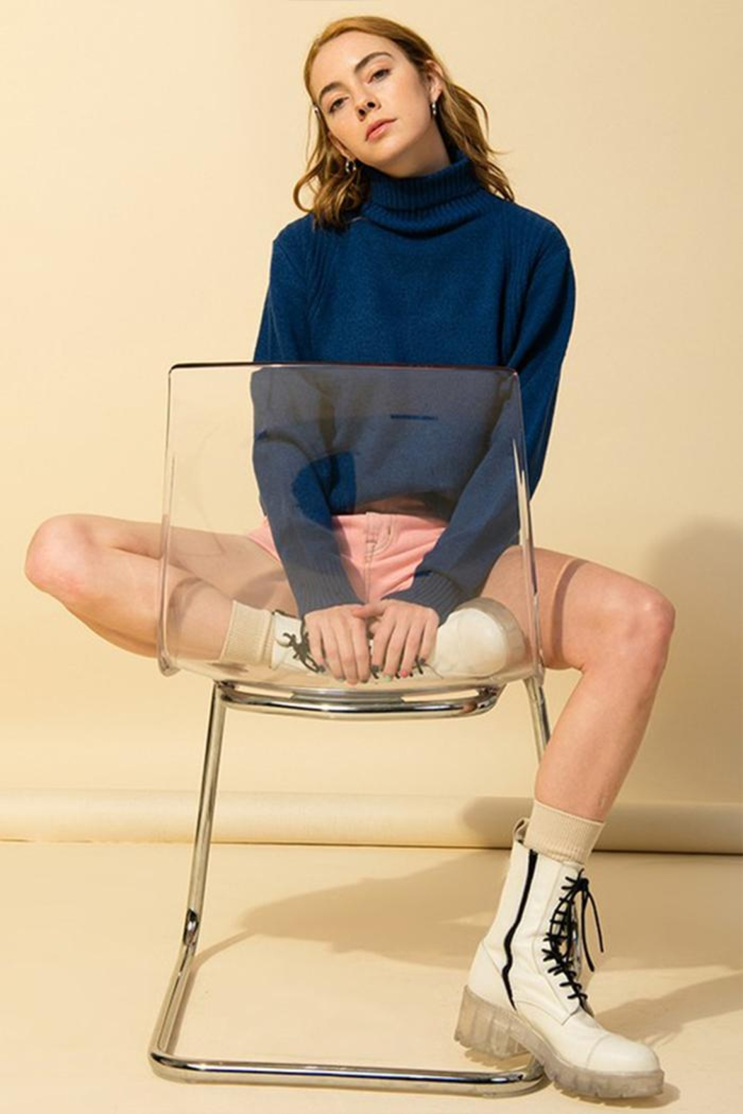 Double Zero Loose-Fit Turtleneck Sweater - Side Cropped Image