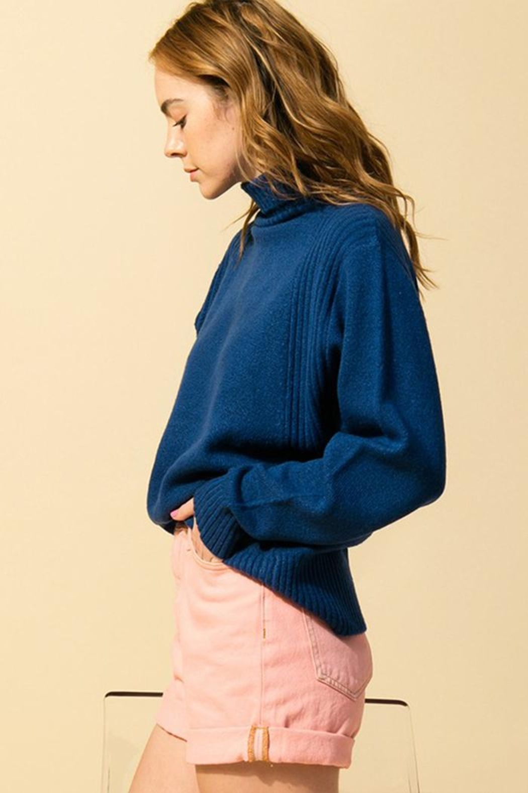 Double Zero Loose-Fit Turtleneck Sweater - Front Full Image