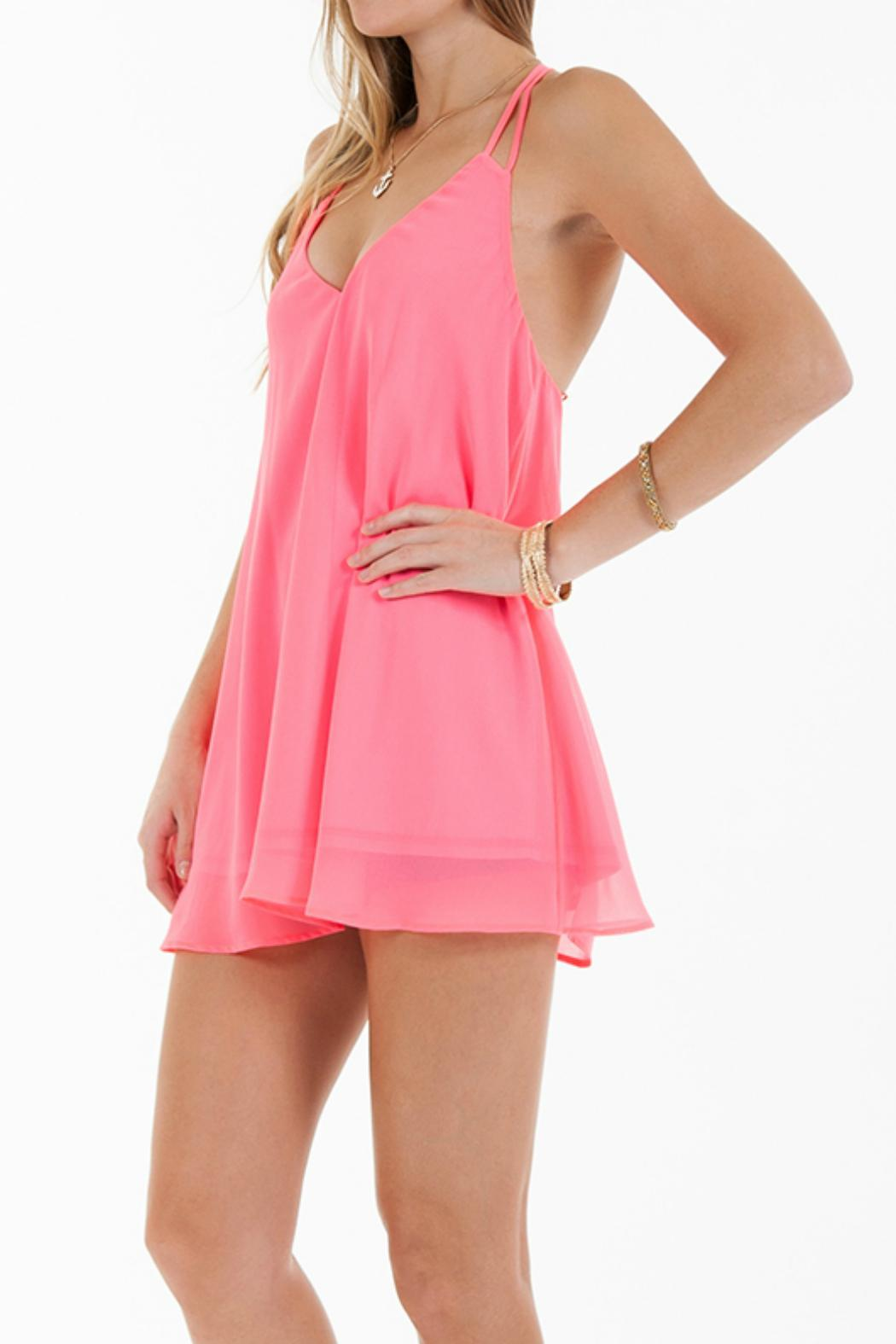 Double Zero Neon Pink Shift-Dress - Side Cropped Image