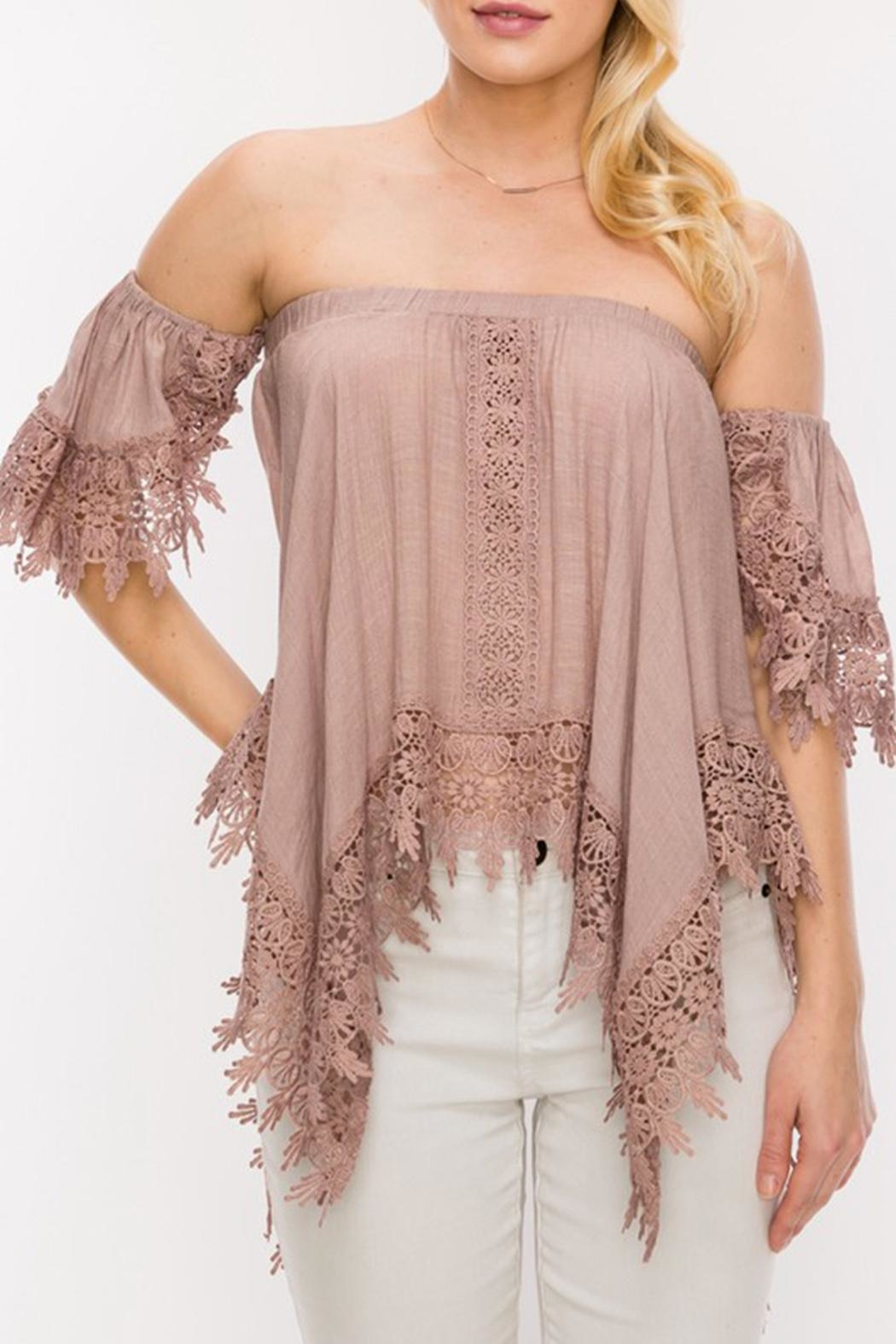 Double Zero Off Shoulder Blouse - Front Cropped Image