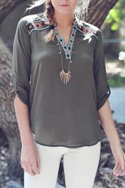 Double Zero Olive Stitch Top - Product Mini Image