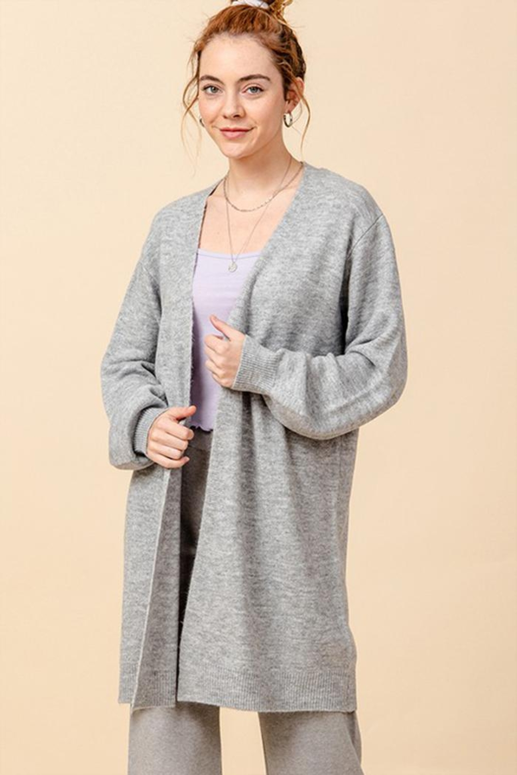 Double Zero Open Front Cardigan - Front Cropped Image