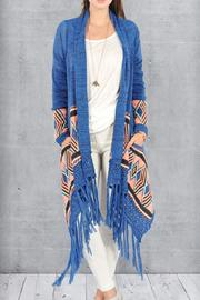 Double Zero Printed Fringe Sweater - Product Mini Image