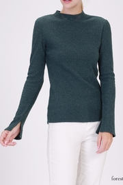 Double Zero Ribbed Mockneck Top - Front cropped