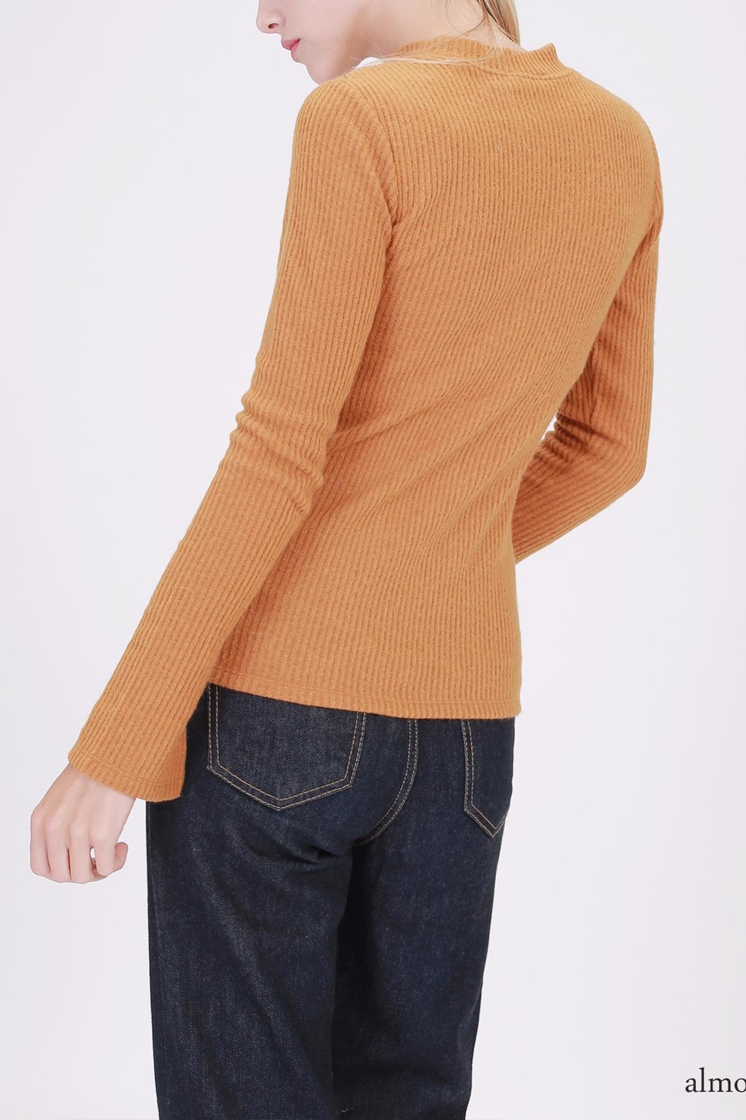 Double Zero Ribbed Mockneck Top - Front Full Image