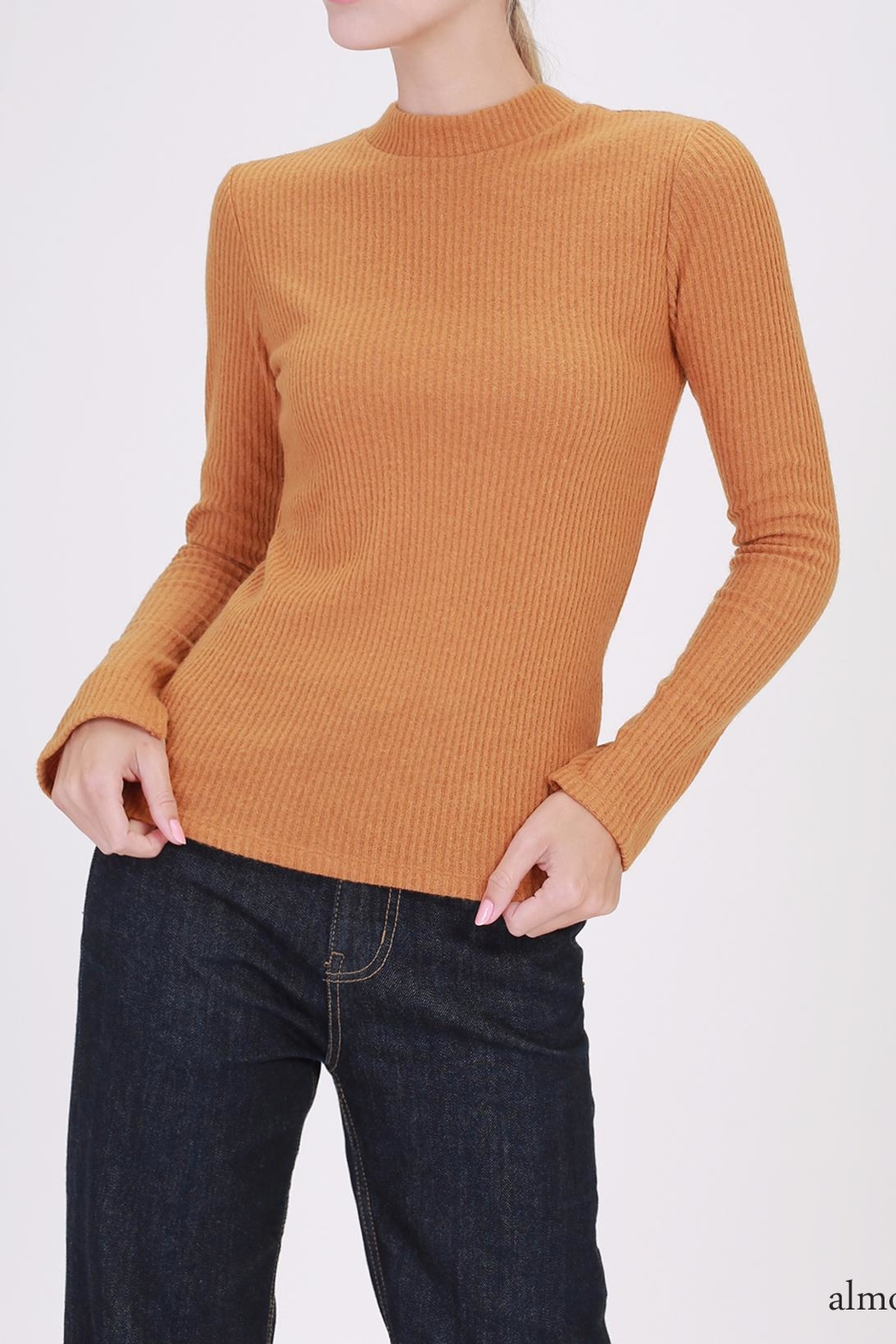 Double Zero Ribbed Mockneck Top - Front Cropped Image