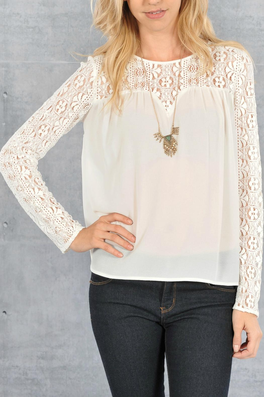 Double Zero Romantic White-Lace Blouse from Branford by ...