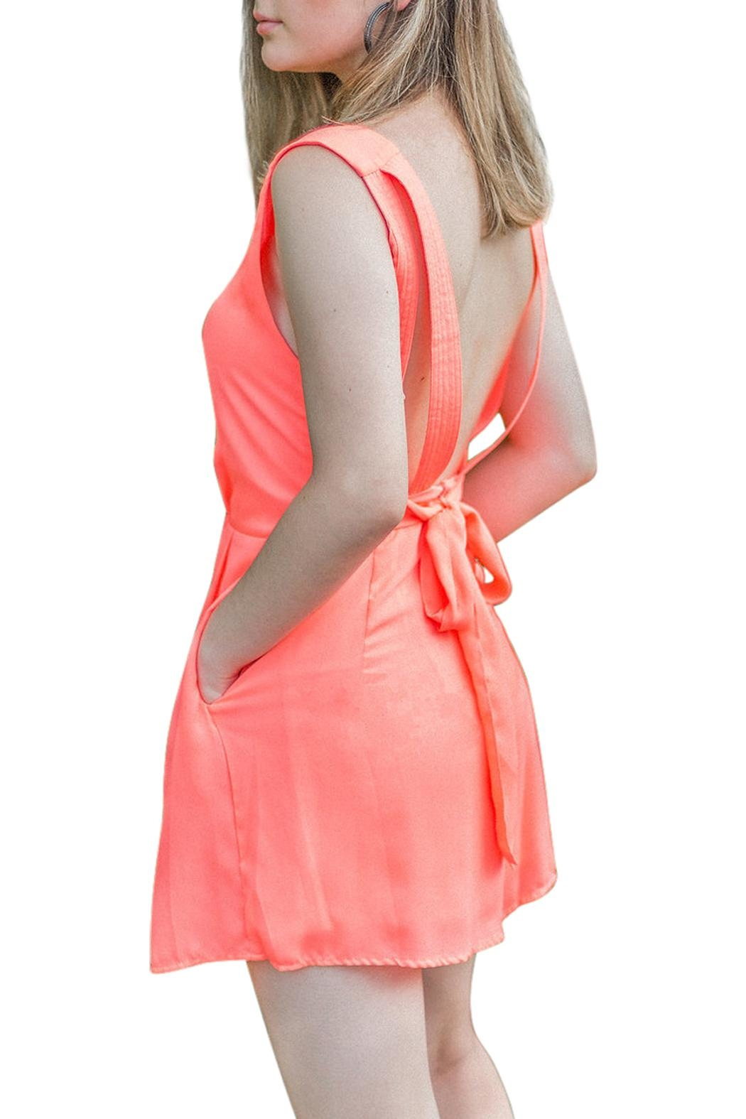 Double Zero Sadie Coral Romper - Side Cropped Image