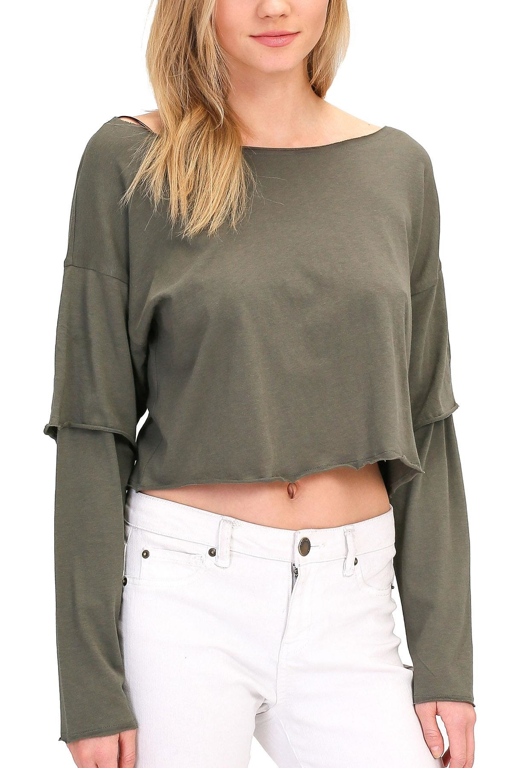 Double Zero Sleeve Detail Top - Front Cropped Image
