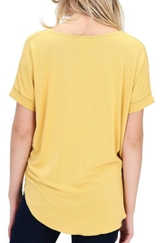 Double Zero That's-A-Wrap Mustard Top - Front full body