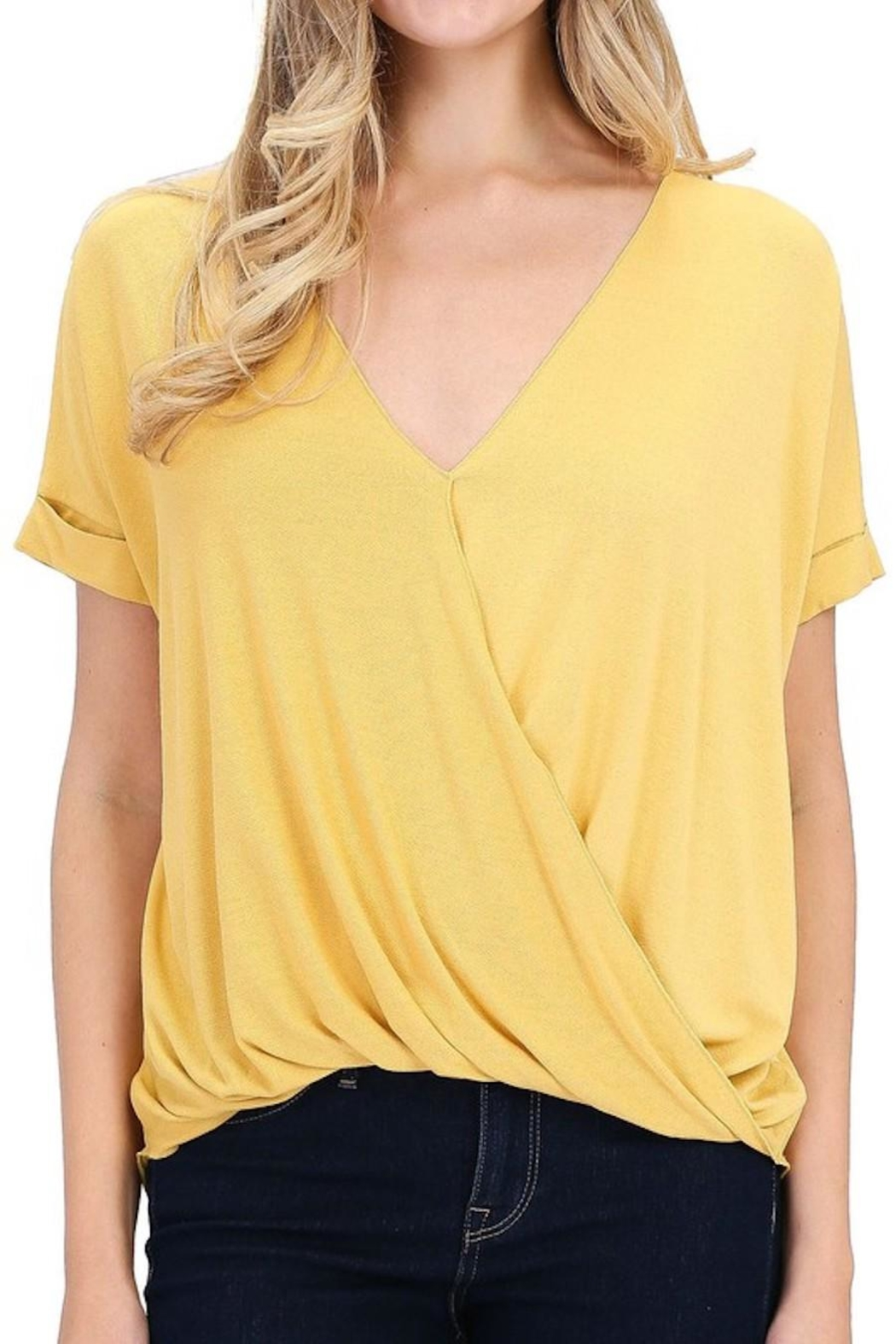 Double Zero That's-A-Wrap Mustard Top - Front Cropped Image