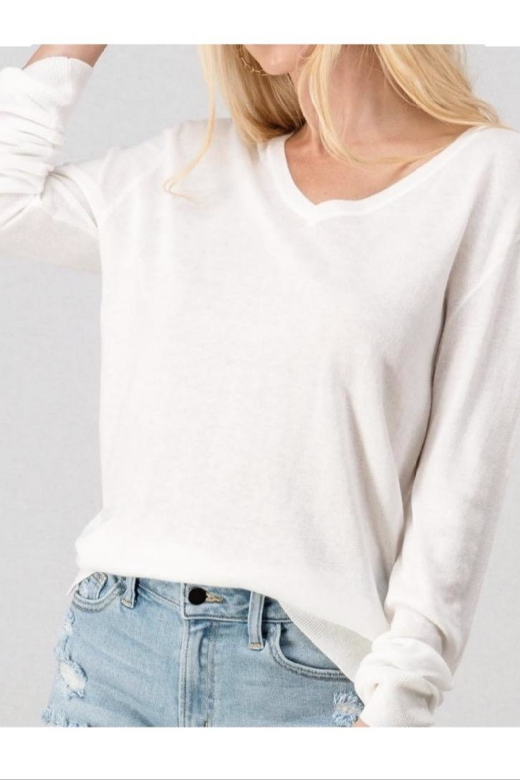 Double Zero White V Neck Sweater - Main Image