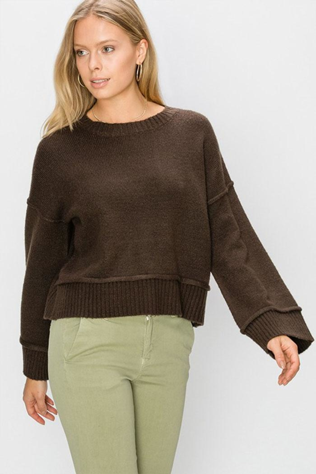 Double Zero Wide Sleeve Pullover - Front Cropped Image