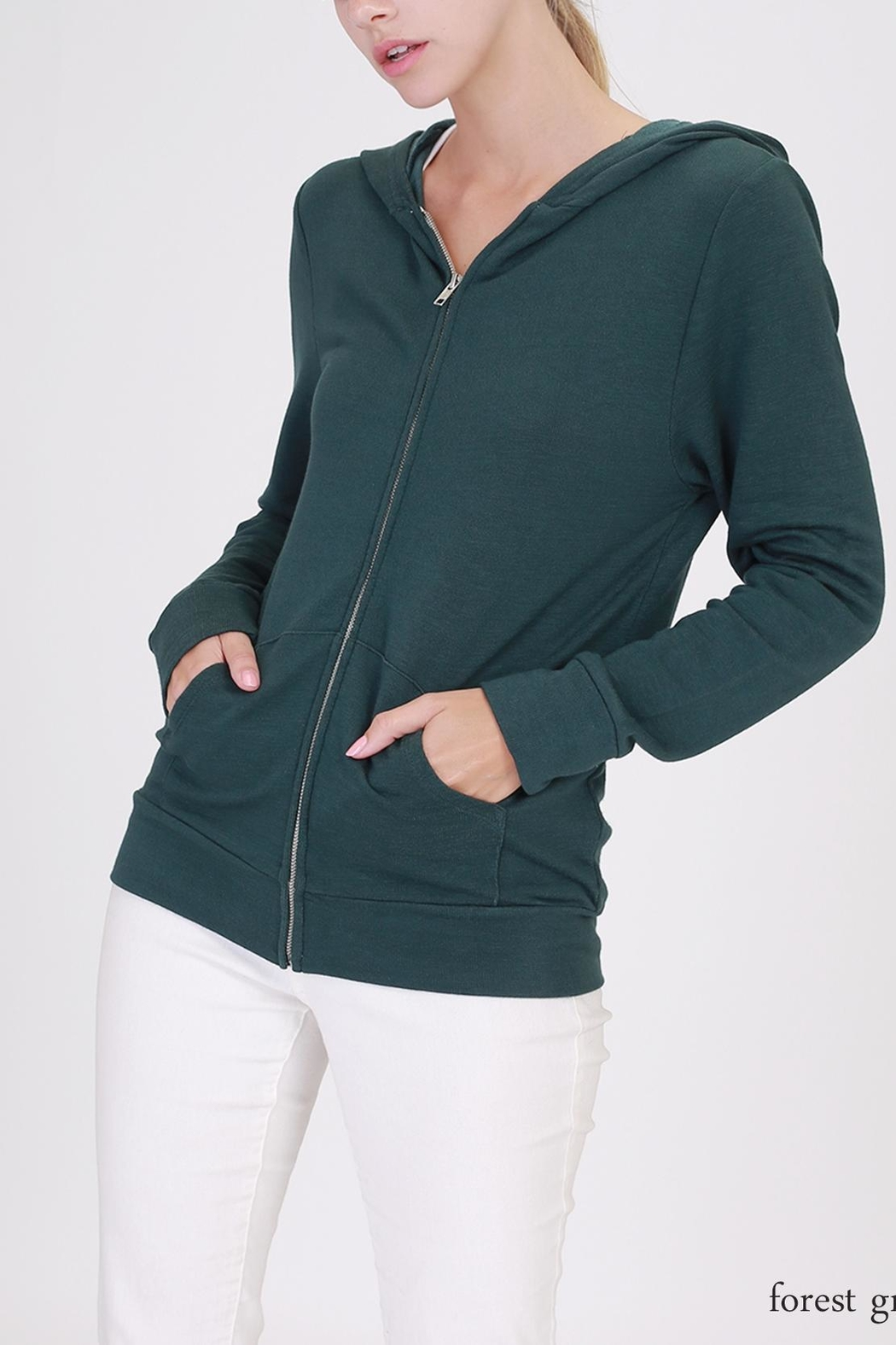 Double Zero Zip Up Hoodie - Front Cropped Image