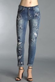 Tempo Paris Dove Embroidered Jeans - Product Mini Image