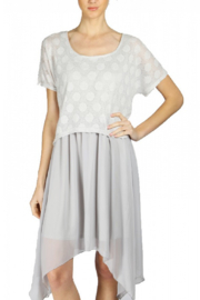 A'reve  Dove Grey Dress with Mesh Overlay - Product Mini Image