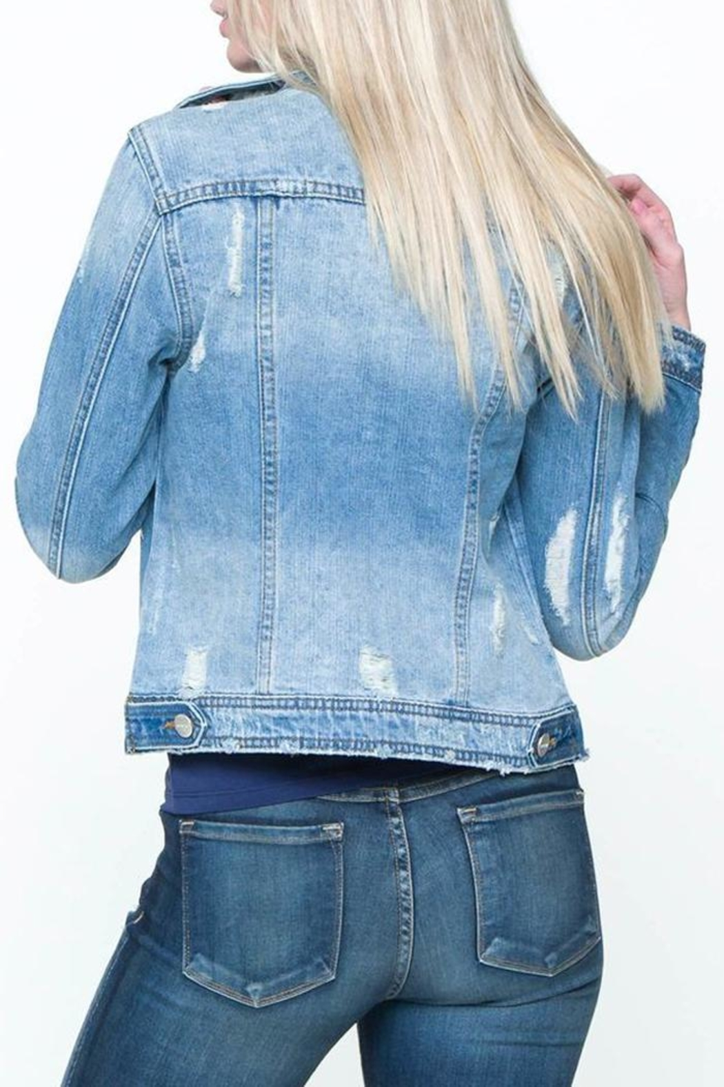 Down East Distressed Denim Jacket - Front Full Image