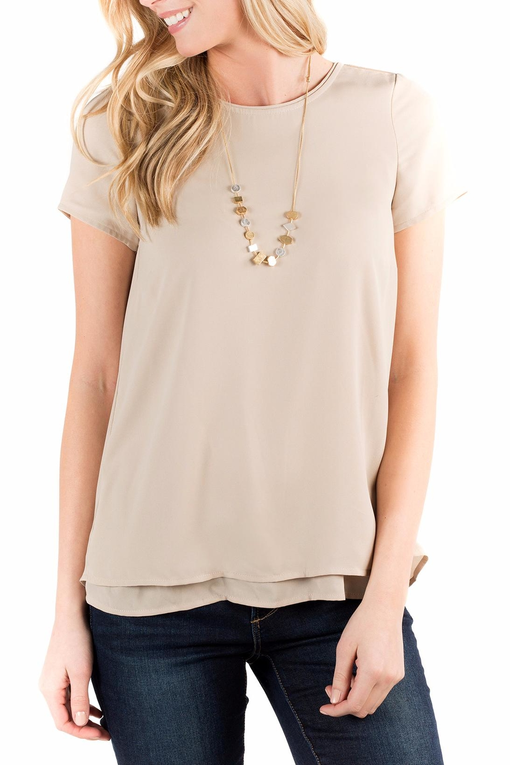 Downeast Basics Beige Button Back Blouse - Main Image