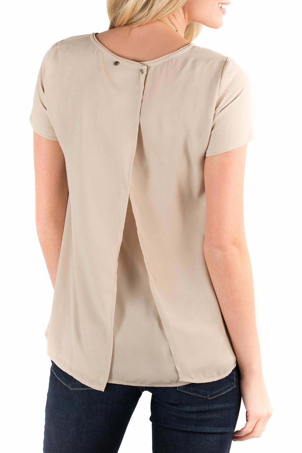 Downeast Basics Beige Button Back Blouse - Front Full Image