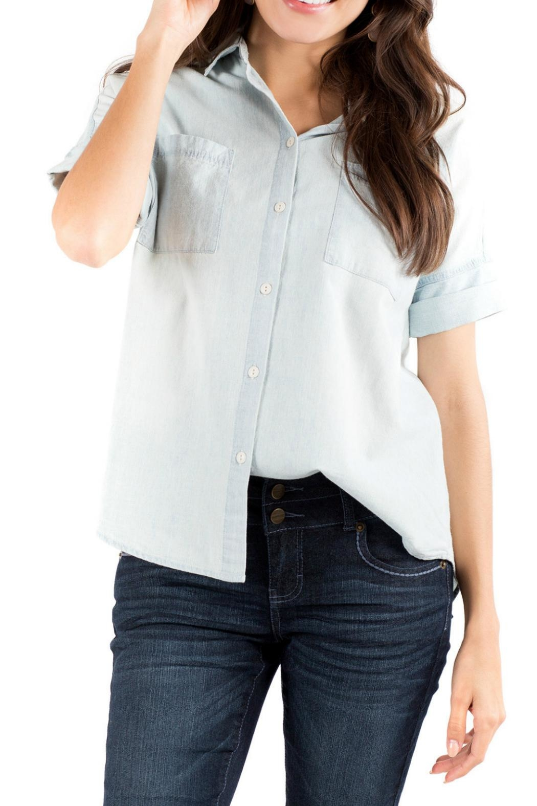 Downeast Basics Casual Chambray Top - Front Cropped Image