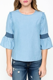 Downeast Basics Chambray Embroidered Top - Product Mini Image