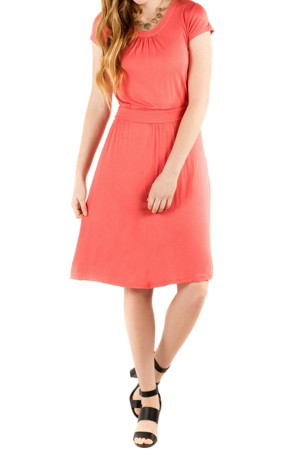 Downeast Basics Copacetic Dress Coral - Front Cropped Image