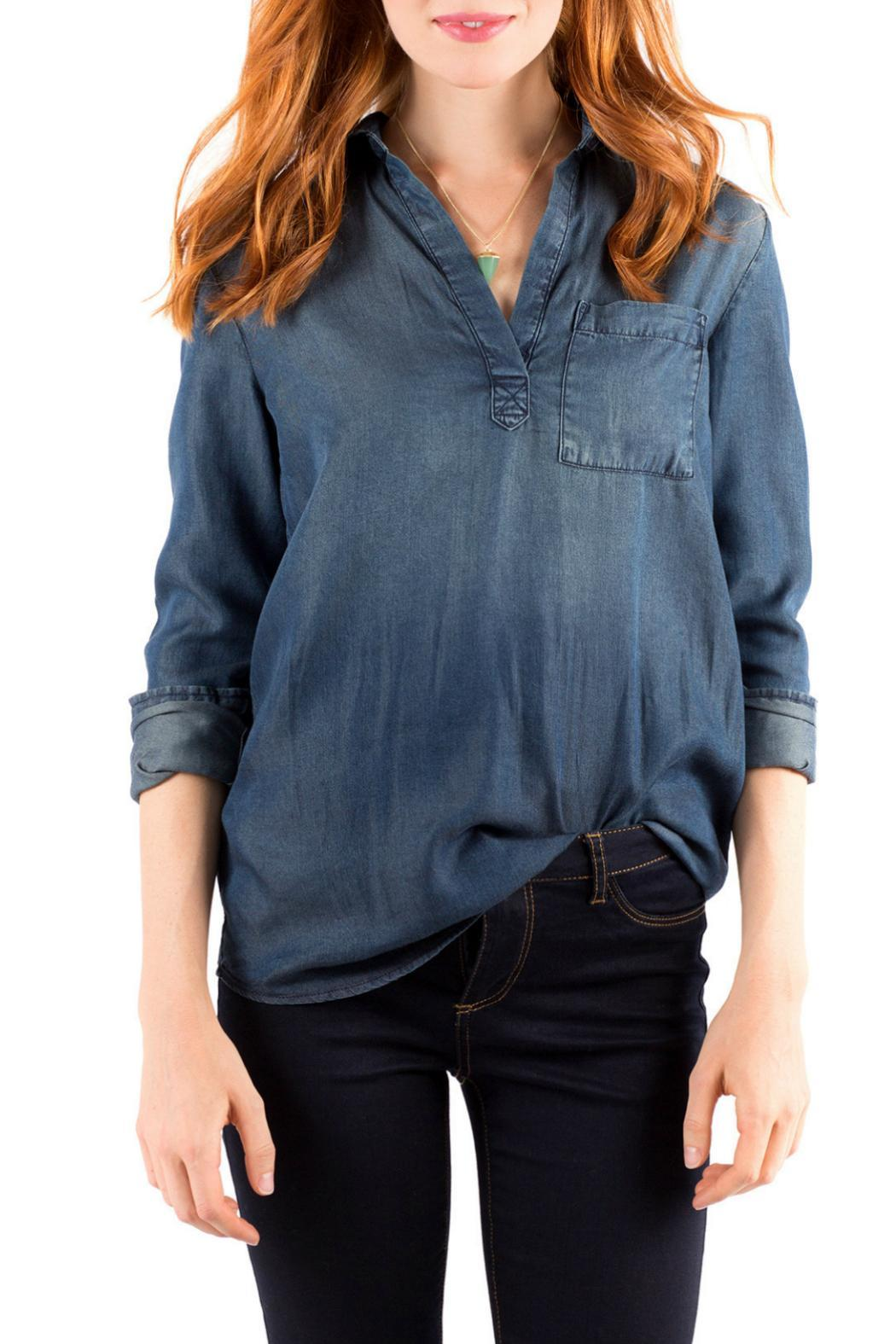Downeast Basics Mountain Blue Top - Front Cropped Image