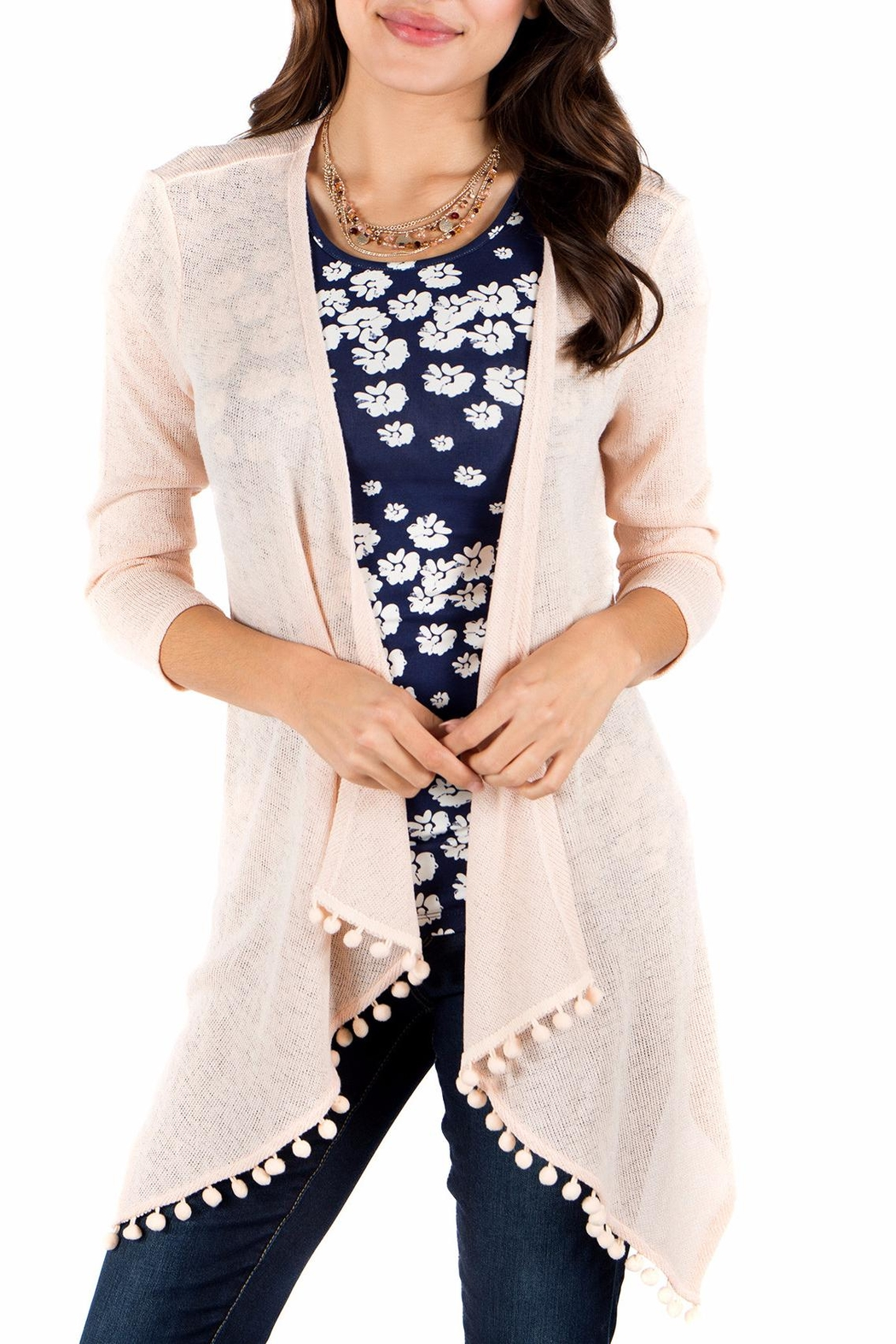 Downeast Basics Pom Pom Cardigan - Front Cropped Image