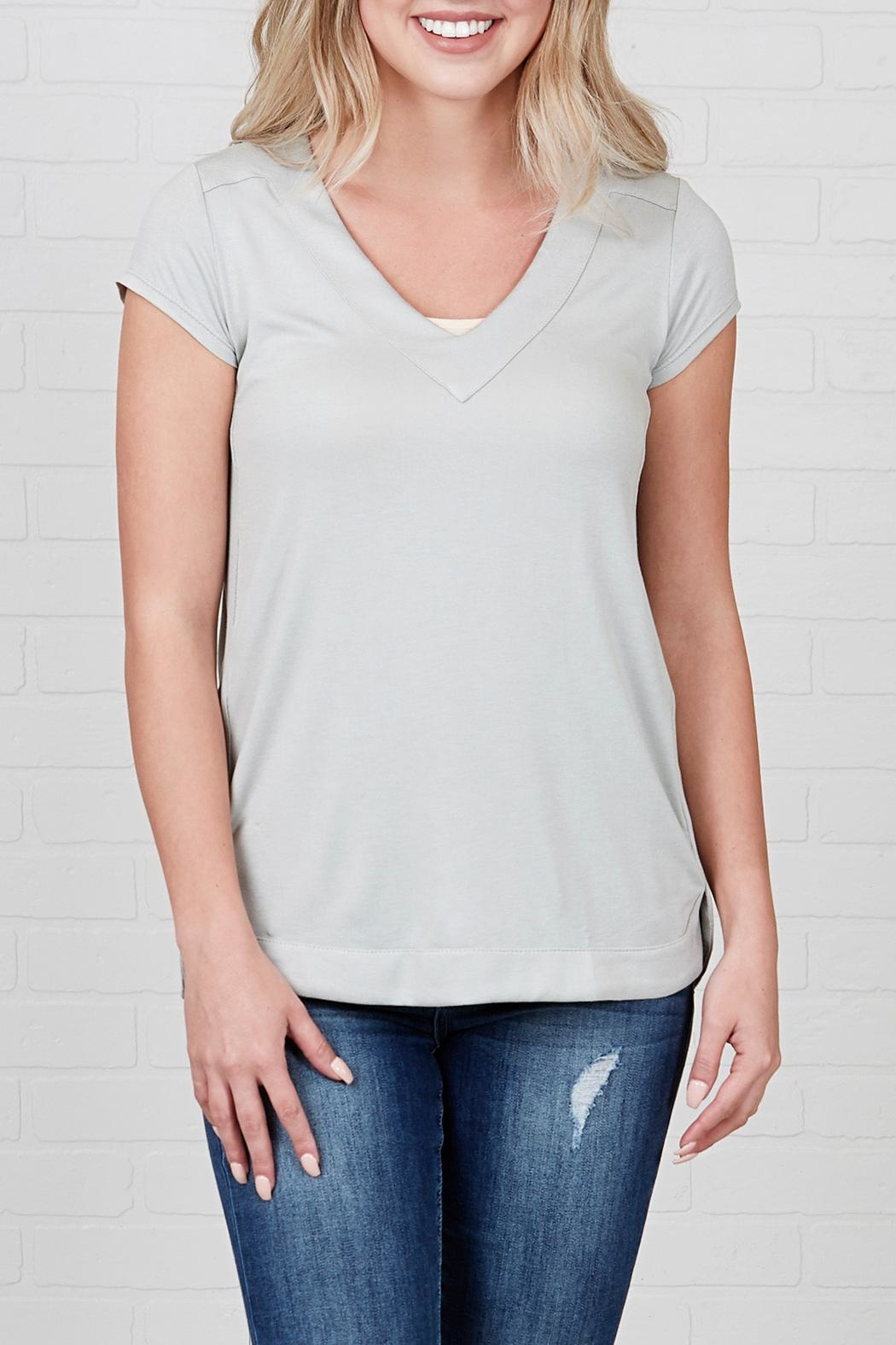 Downeast Basics Grey Scripted Top - Main Image