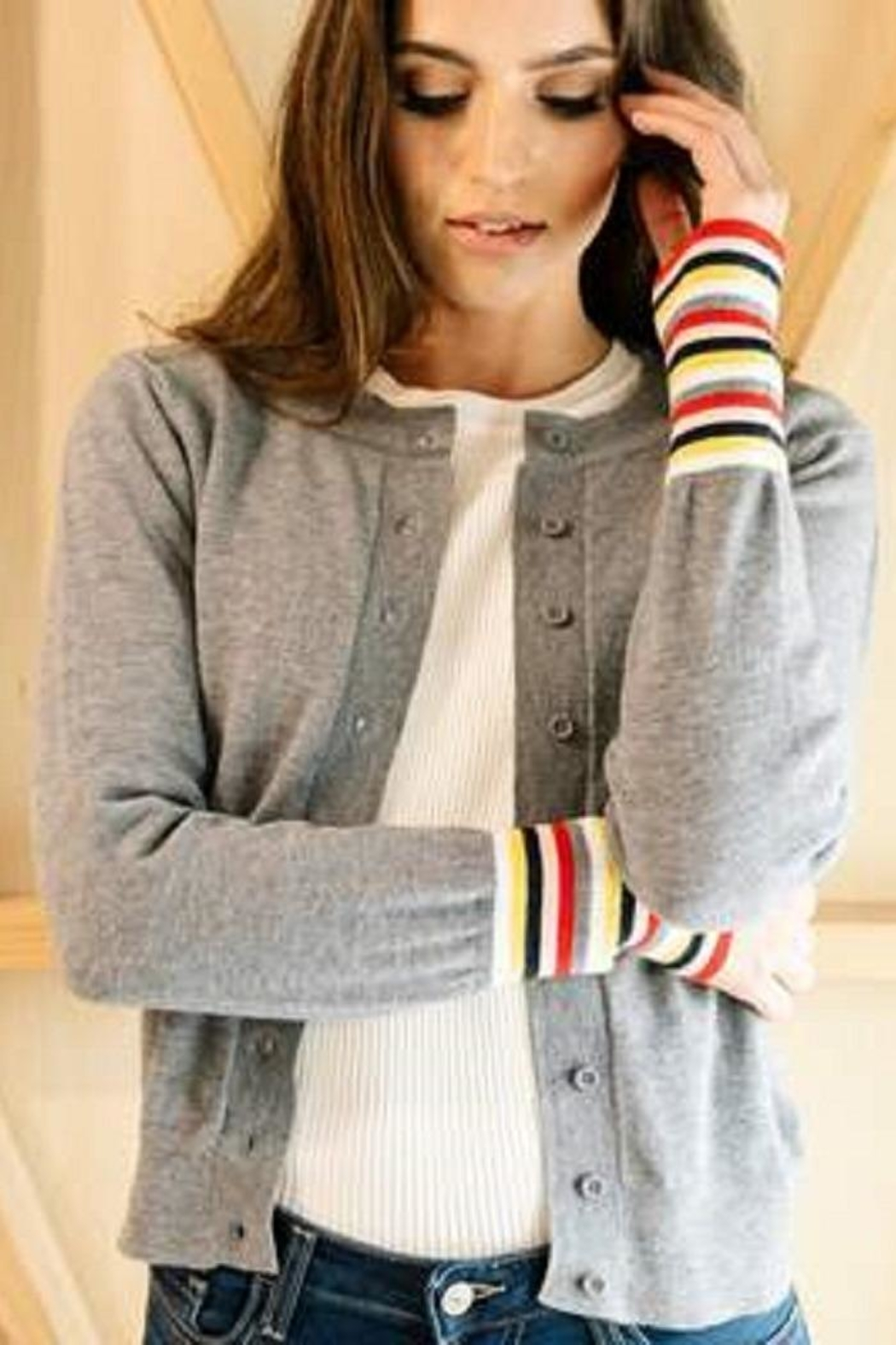 Downeast Basics Stripe Cuff Cardigan - Front Cropped Image