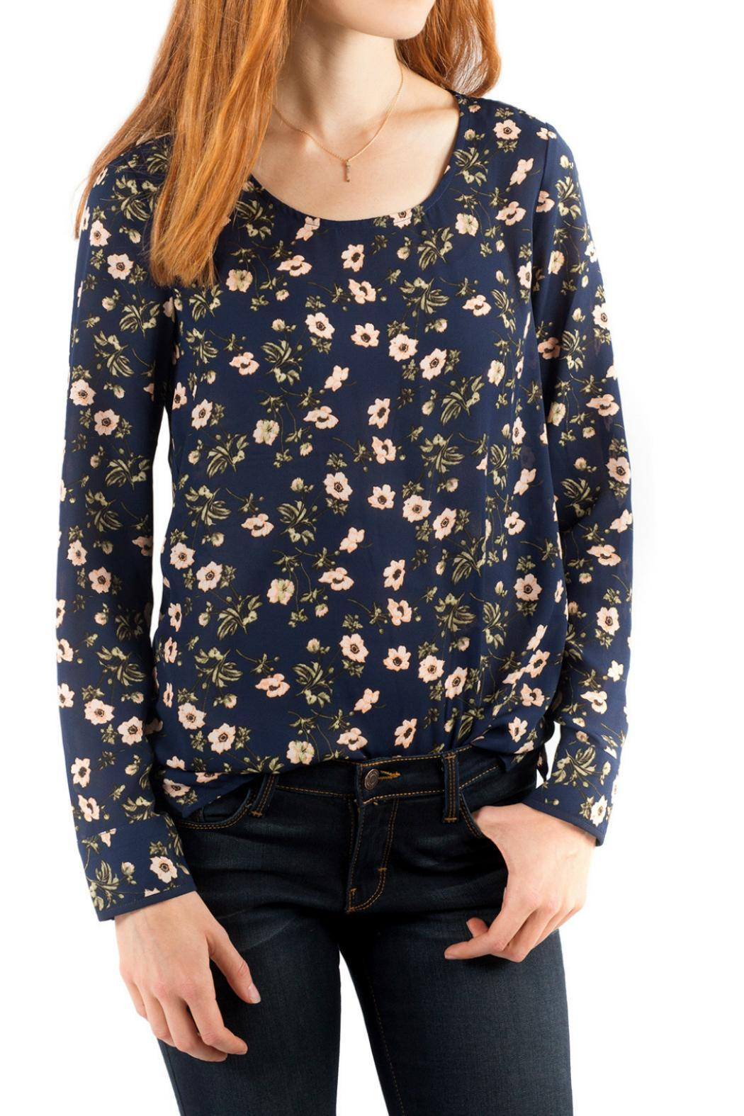 Downeast Basics Zurich Floral Top - Front Cropped Image