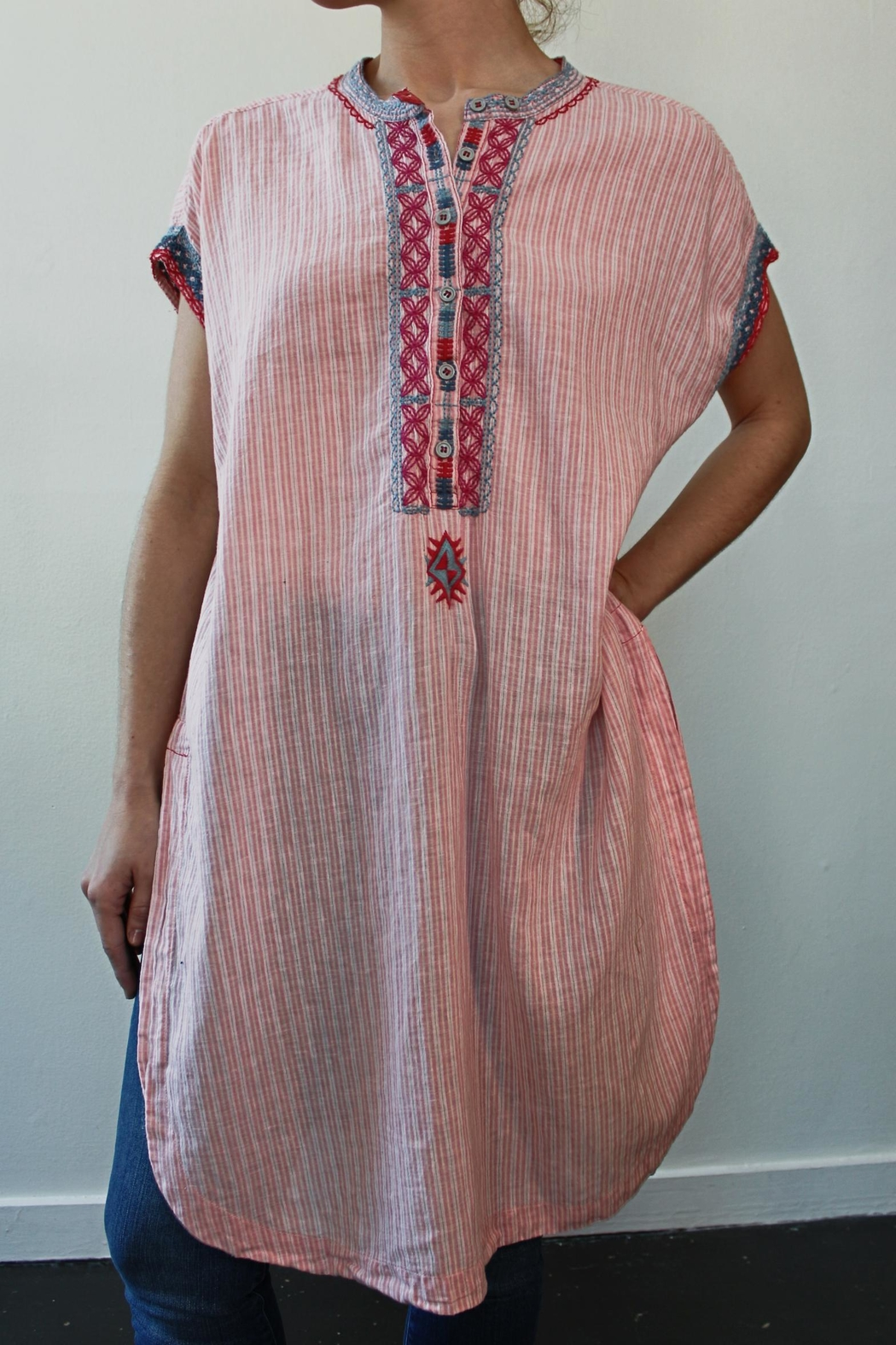 Johnny Was Downing Linen Tunic-Dress - Front Cropped Image