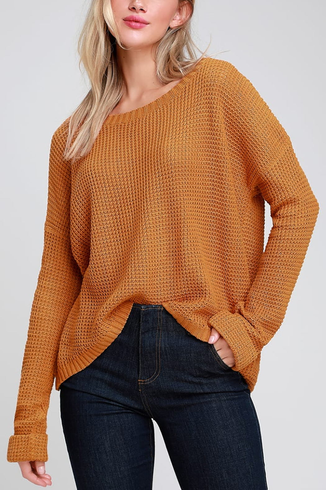 MinkPink Downtown Waffle Sweater - Front Cropped Image