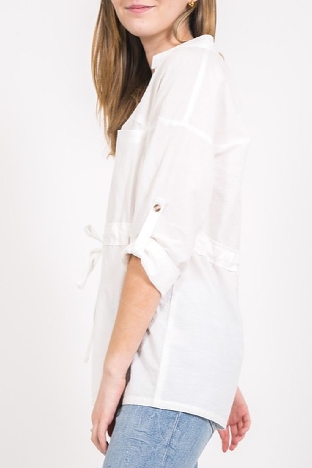 Very J Draawstring Waist Blouse - Front Full Image