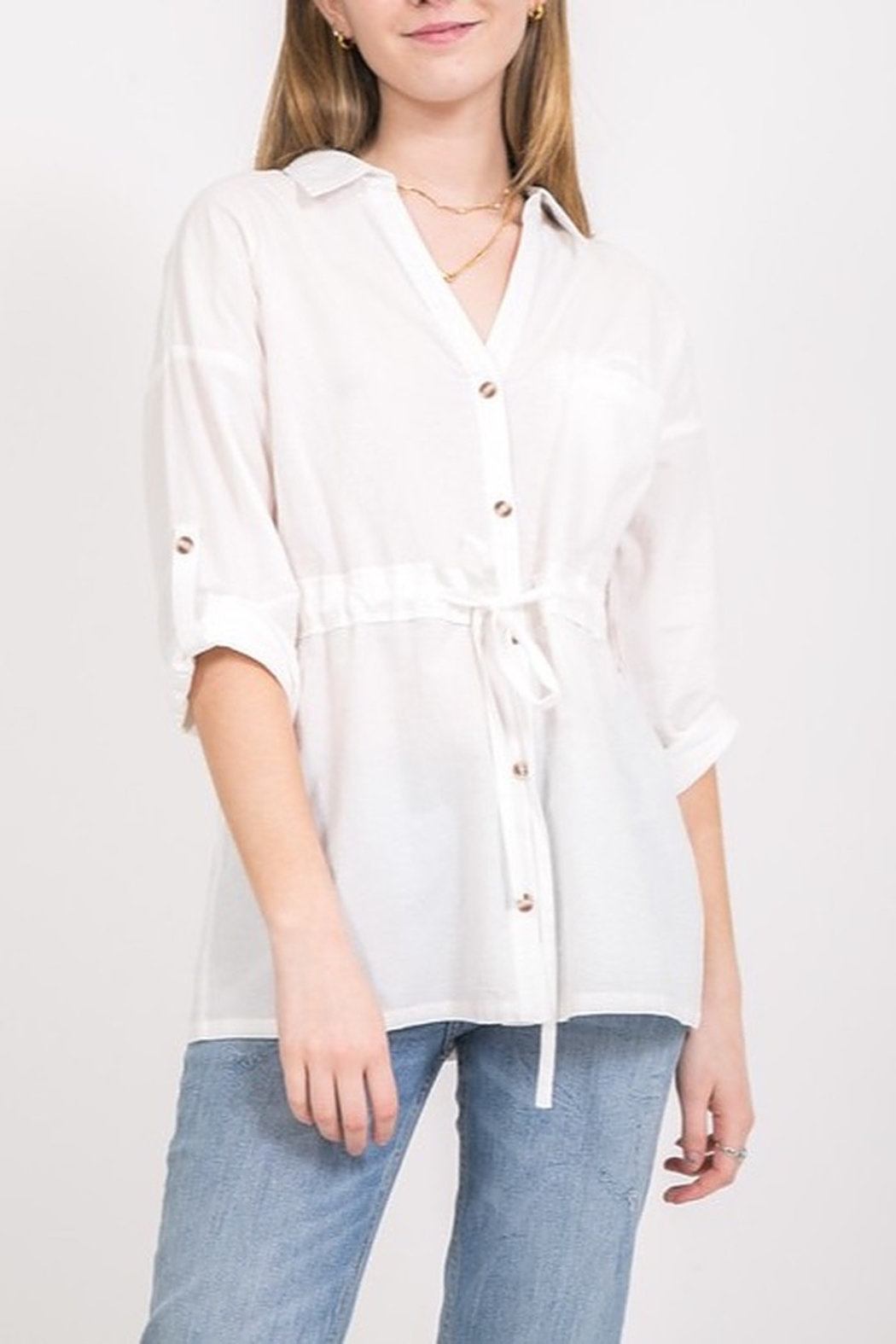 Very J Draawstring Waist Blouse - Front Cropped Image