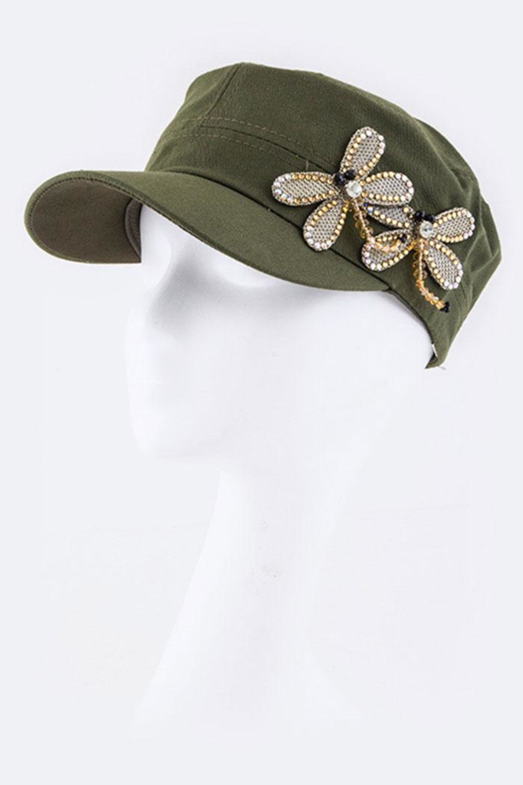 Nadya's Closet Dragonflies Fashion Military-Hat - Front Cropped Image