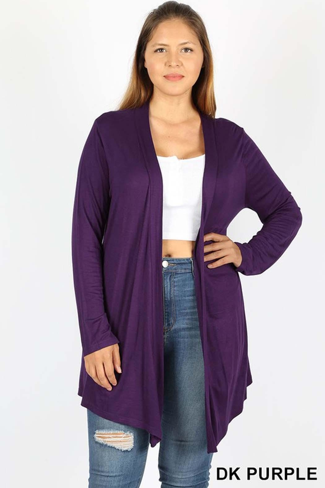Zenana Outfitters Drape Open Cardigan - Front Cropped Image