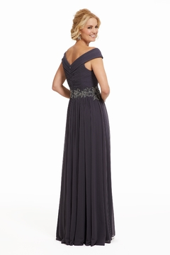 MGNY Draped A-Line Gown, Charcoal - Alternate List Image