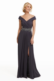 MGNY Draped A-Line Gown, Charcoal - Product Mini Image