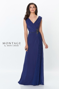 Montage Draped A-Line Gown, Navy - Product List Image