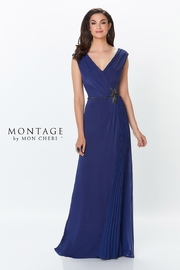 Montage Draped A-Line Gown, Navy - Product Mini Image