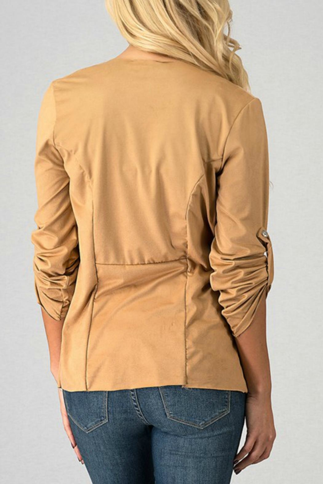 Trend:notes Draped-Collar Jacket - Side Cropped Image