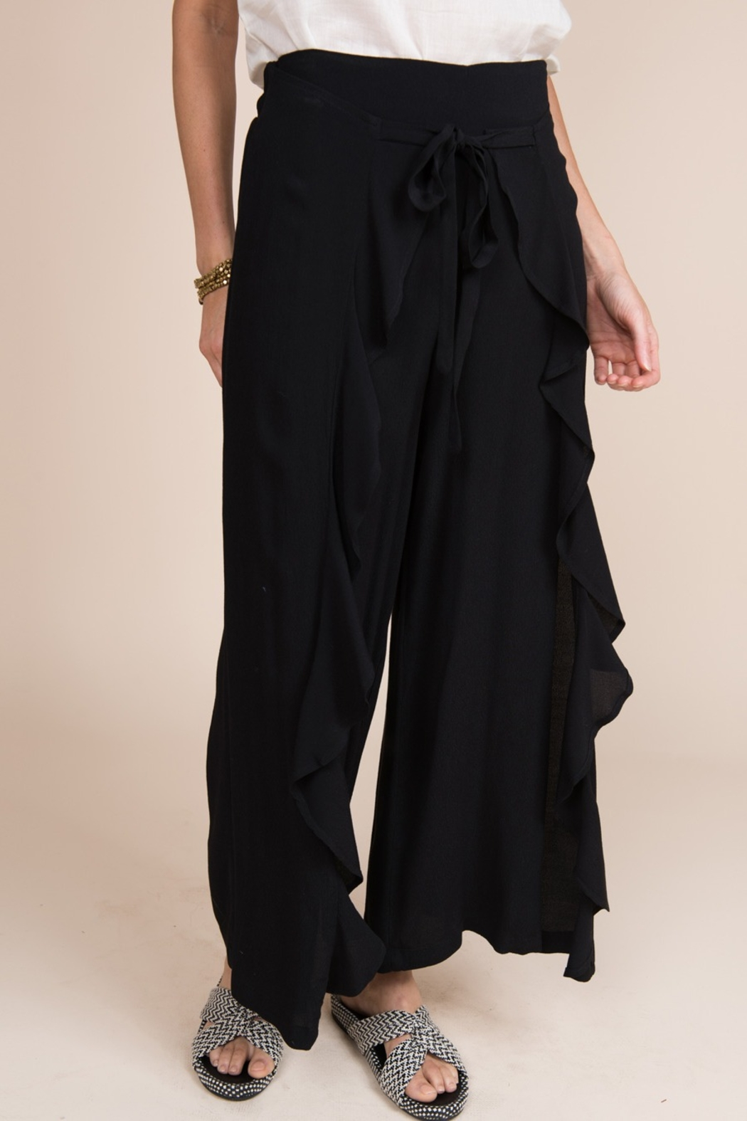 Ivy Jane / Uncle Frank  Draped Front Ruffle Pant - Front Cropped Image