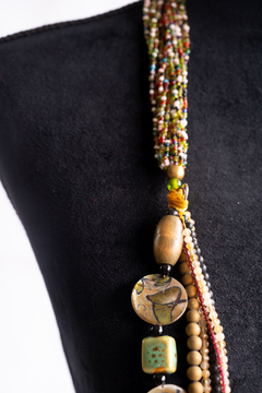 Handmade by CA artist Draped Jeweled Stone & Bead Necklace - Alternate List Image
