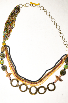 Handmade by CA artist Draped Jeweled Stone & Bead Necklace - Product List Image
