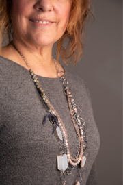 Handmade by CA artist Pink & Silver Jeweled Multi-Strand Necklace - Product Mini Image