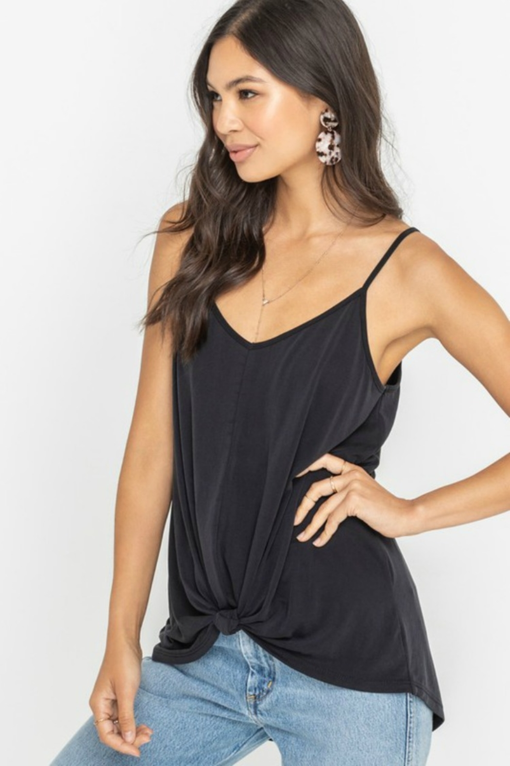 Lush  Draped Knot Front Tank - Front Cropped Image